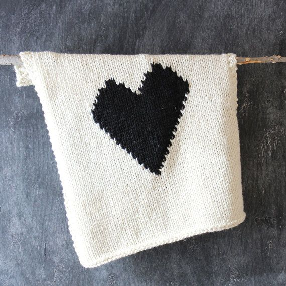 Knitted Heart Baby or Lap/Throw Blanket by YarningMade on Etsy
