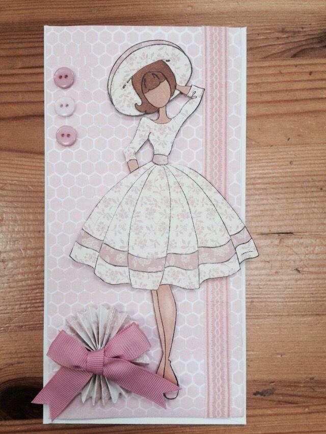 Pink vintage prima doll card I made