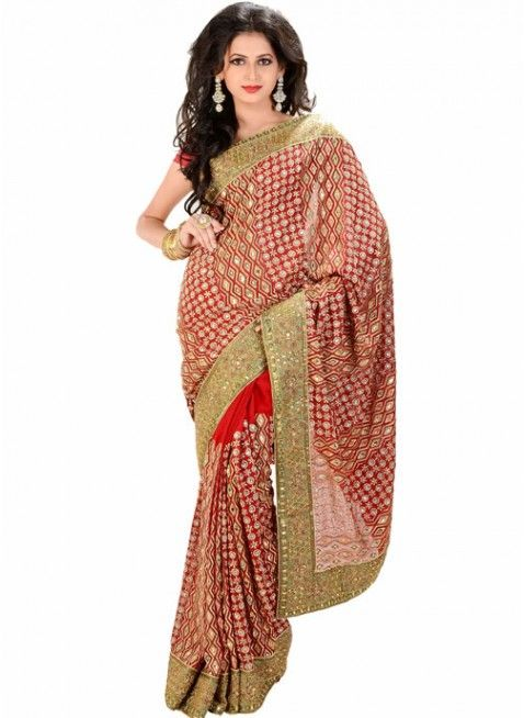 Exquisite Red Color Chiffon Based Embroidered #Saree With Resham Work #clothing #fashion #womenwear #womenapparel #ethnicwear