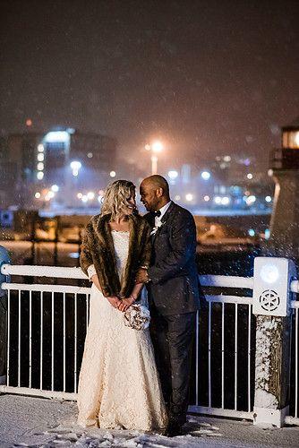 Winter wedding on the boardwalk