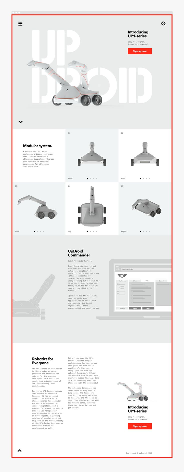 Up Droid Robotic Website | Grid Based Website Design