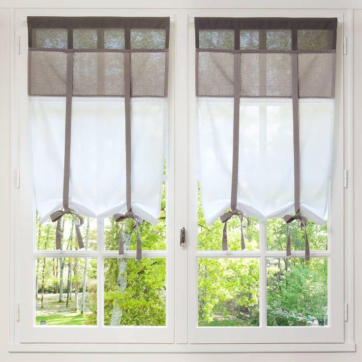 Rideau court en coton blanc et taupe 60 x 110 cm rideaux - Rideau court fenetre ...