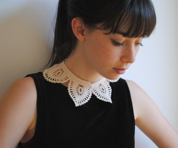 Custom Made Crochet Lacelike Shirt Collar Ecru White Cotton Fashion