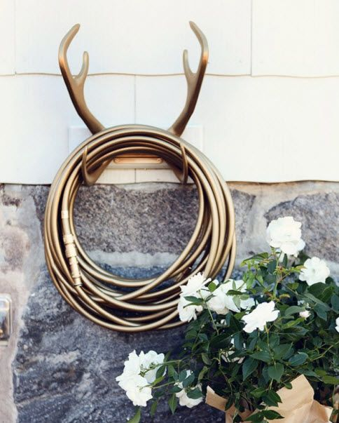 Garden Glory Hose Kits (http://blog.hgtv.com/design/2013/10/09/daily-delight-garden-glory-hose-kits/?soc=pinterest): Decor, Ideas, Houses, Outdoor, Gold Diggers, Gardens Hose Holders, Hose Hangers, Antlers Hose, Gardens Glories