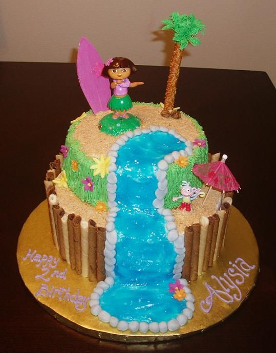 Dora Luau - Id done a luau cake before and this customer wanted the exact same thing but wanted it to include Dora & Boots. I was so excited when I was exiting a store & saw this hula girl that was Dora!!! It worked perfectly on the cake & the customer loved it all! Boots is under the umbrella getting some shade, lol. TFL!