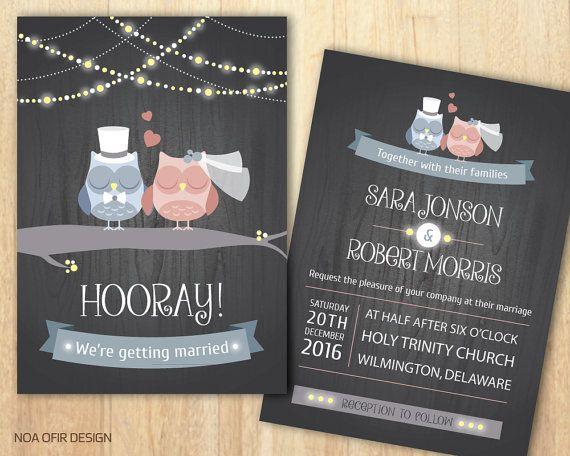 Owl Wedding Invitations, Owl Invitation, Owl Invite, Light Wedding Invitation, Light Invite, Printable Wedding Invite, DIY Wedding Invite