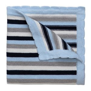 Blue stripe knitted baby blanket