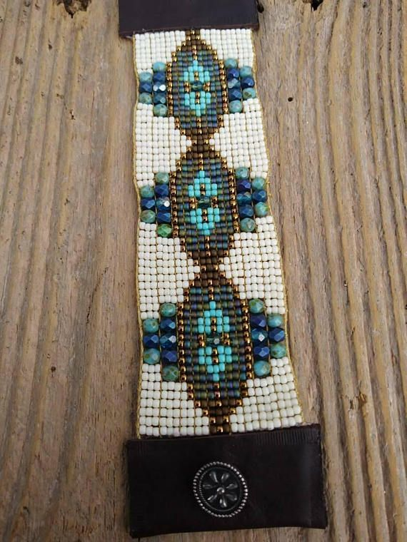 Bead loom bracelet, boho bead Loom bracelet, bead woven bracelet, boho bead woven bracelet, Native American inspired, Southwest, bohemian, ooak. This one of a kind hand loomed bracelet was meticulously woven on a loom using Czech glass Swarovski crystals and Japanese seed beads. It