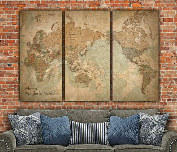 Vintage World Map WITH Countries on Canvas  by HolyCowCanvas