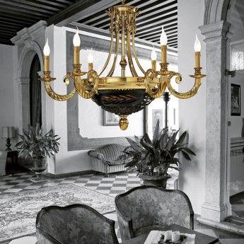 Klasyczna lampa wisząca z serii 4501 - producent Possoni. #Possoni #4501 #lampy_wiszące #oświetlenie_domu #lampy_do_salonu #light #złoto #gold #lampy_kraków #abanet_kraków #sklep_abanet