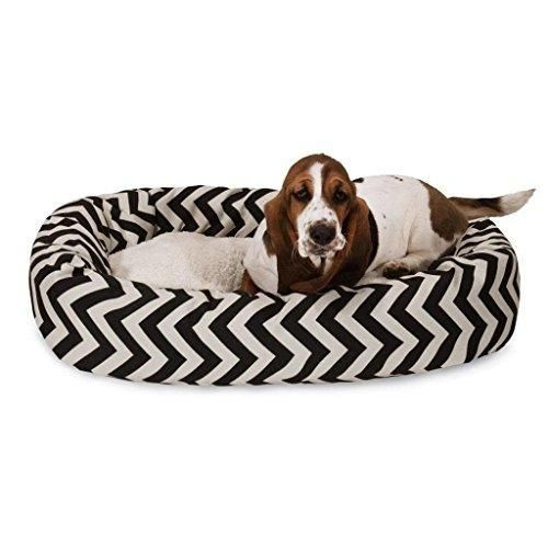 Extra Large Black Chevron Stripes Pattern Sherpa Dog Bed Zig Zag Lines Bagel Pet Bedding Round Shape Features Water Stain Resists Removable Cover Soft Comfy Plush Polyester