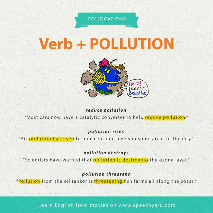 Collocations verb + Pollution