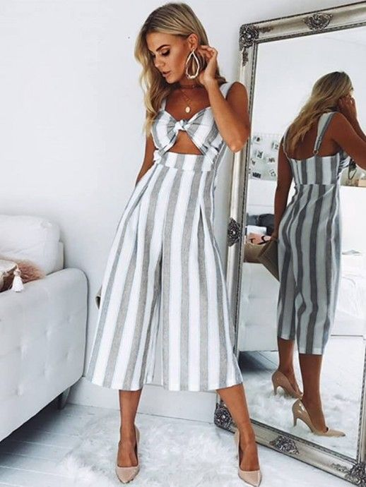 1c380a985ff Summer New Arrival Sexy Strap Sleeveless Striped Fashion Loose Cropped  Jumpsuits Pant Jumpsuit