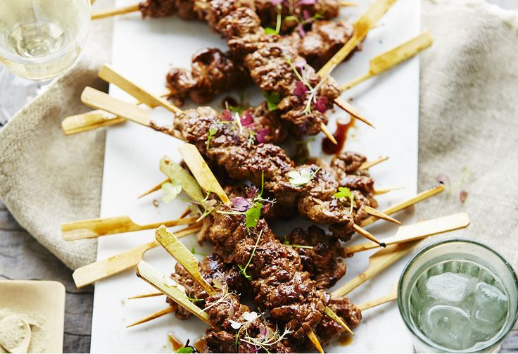Give your usual beef kebabs an update with an easy marinade of garlic, ginger and soy sauce. These are perfect for an asian-style entree or party finger food.