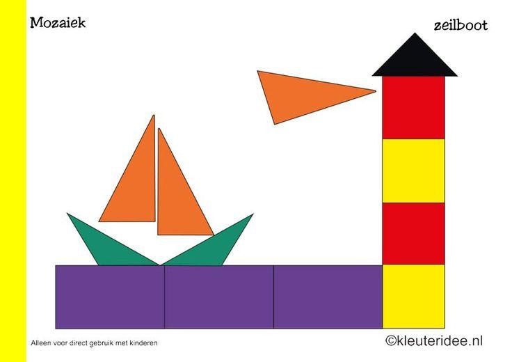 Tien mozaiek voorbeeldkaarten voor kleuters 2, zeilboot, kleuteridee.nl , Preschool mosaic patterns, free printable.