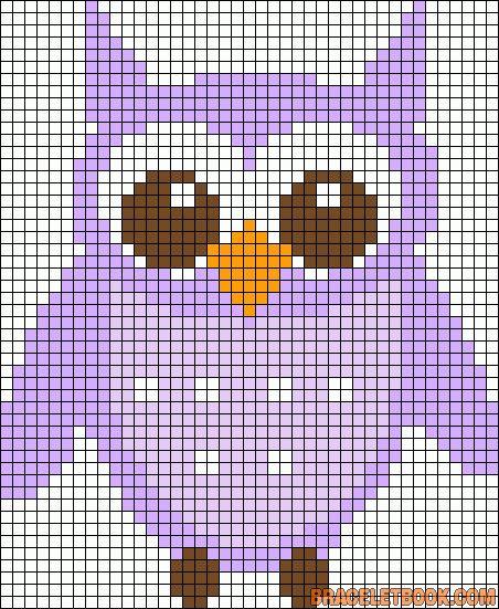Owl perler bead pattern Encontrado em braceletbook.com