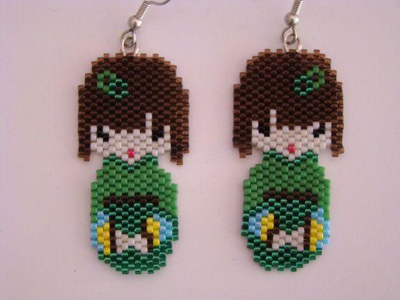 Kokeshi peyote doll earrings by verabeads on Etsy