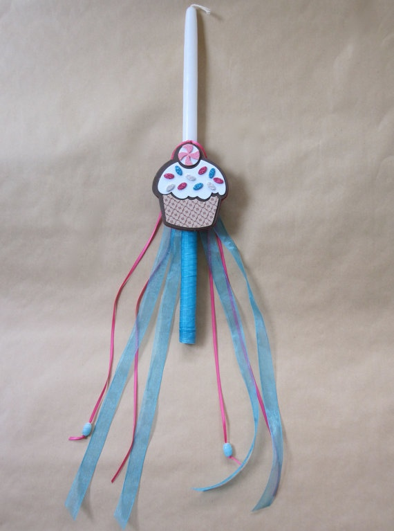 Cupcake Delight Easter Candle Lampada Labada by LimaniDesigns, $15.00