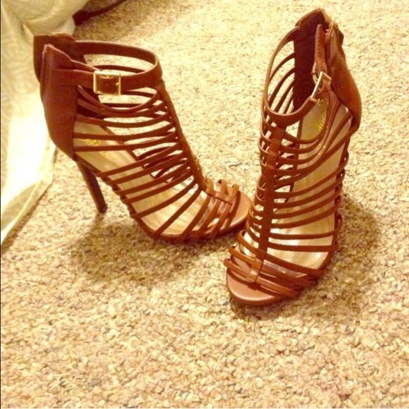 Tan gladiator heels Tan gladiator shoes from Charlotte russe size 5.5 but will fit a 6 as well. Worn once Charlotte Russe Shoes Heels