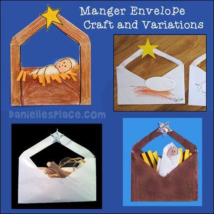 Baby Jesus in a Manger Envelop Craft with Variations from www.daniellesplace.com