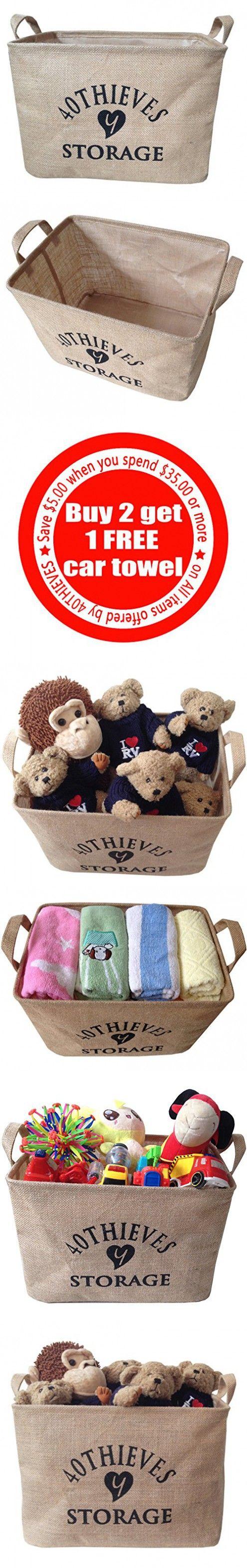 "Y 40 THIEVES Medium Jute Storage Bin 14.5 x 10 x 10"" perfect for Toy Storage - Storage Basket for Organizing Baby Clothing, Baby Toys, Kids Toys, Children Books, Gift Baskets"