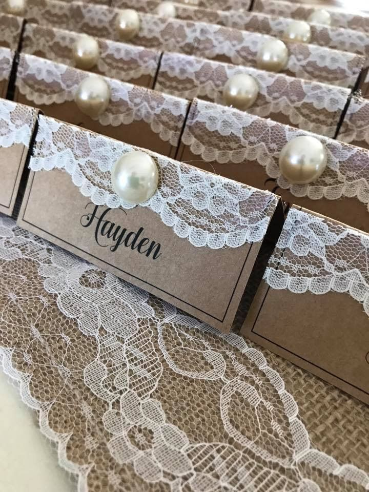 Pearl and lace seating cards