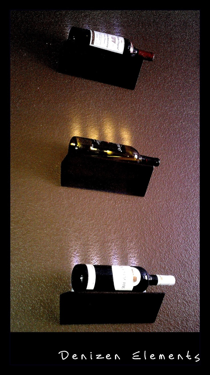 Easy DIY. LED Wine Bottle Display with floating shelves and led stick.
