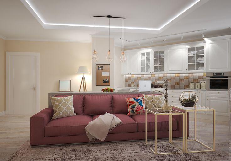 В гостиной предусмотрены многочисленные сценарии освещения: потолочная подсветка, навесные светильники, рейл, бра и торшеры.