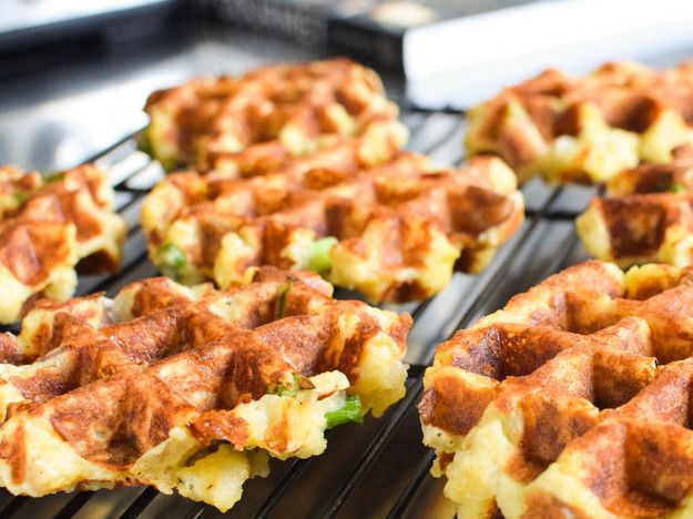 Leftover mashed potatoes reheated in the waffle iron make for awesome crisp edges and custom-designed gravy wells.