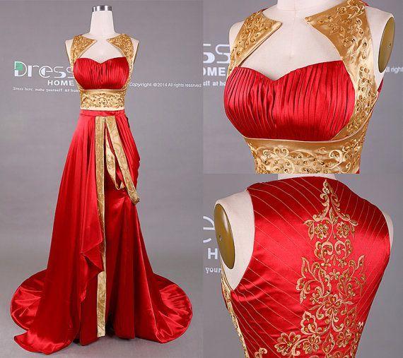 Neues Design-Gold und rote Stickerei, die langes Abschlussballkleid / Stickerei-Abschlussballkleid / rote Abschlussball-Kleider / einzigartiges Abschlussballkleid 2015 DH410 bördelt