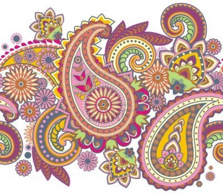 Seamless pattern basada en elementos tradicionales asiáticos Paisley Foto de archivo