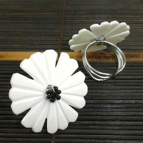 Nouveau Flower Bone Ring in Cream Handmade and Fair Trade