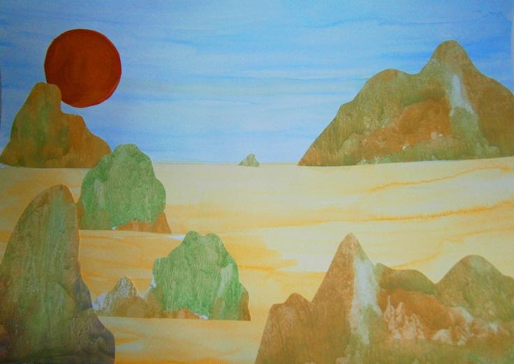 Traumlandschaft  Hintergrund uns Sonne malen  Berge und Hügel aus einem seperaten Papier (Abklatschtechnik) ausschneiden, aufkleben