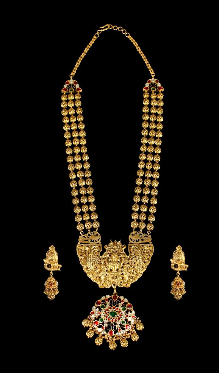 22 carat gold floral designer pendant with multiple beads chain and - Three Rows Of Globular Gold Beads Appear To Float Downwards Towards The Exquisite And Auspicious Lakshmi Pendant
