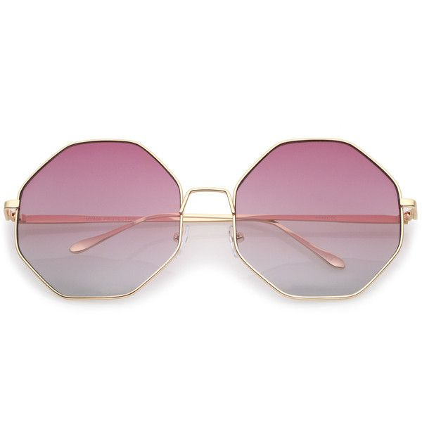 Women's indie festival oversize hexagon sunglasses a656 ($15) ❤ liked on Polyvore featuring accessories, eyewear, sunglasses, glasses, retro glasses, gradient lens sunglasses, metal frame sunglasses, metal sunglasses and oversized round sunglasses