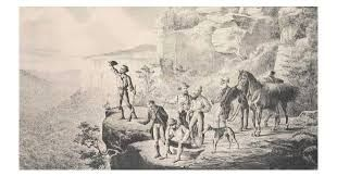 Blaxland,Lawson and Wentworth with their convict helpers crossing the Blue Mountains