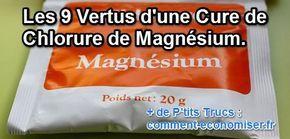 On sait aujourd'hui que le magnésium est essentiel dans le fonctionnement de l'organisme, qui cependant ne dispose d'aucune réserve : il faut donc lui en procurer par un apport journalier.  Découvrez l'astuce ici : http://www.comment-economiser.fr/vertus-cure-chlorure-magnesium.html?utm_content=bufferd46e9&utm_medium=social&utm_source=pinterest.com&utm_campaign=buffer