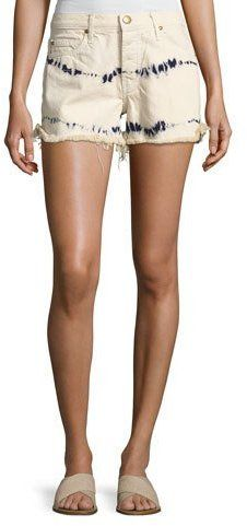 The Great The Cut Off Slouchy Tie-Dye Denim Shorts, White