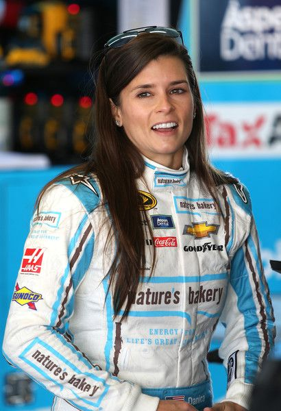 Danica Patrick stands in the garage area prior to practice for the 2016 Daytona 500, Daytona Int'l Speedway, 2/13/16.