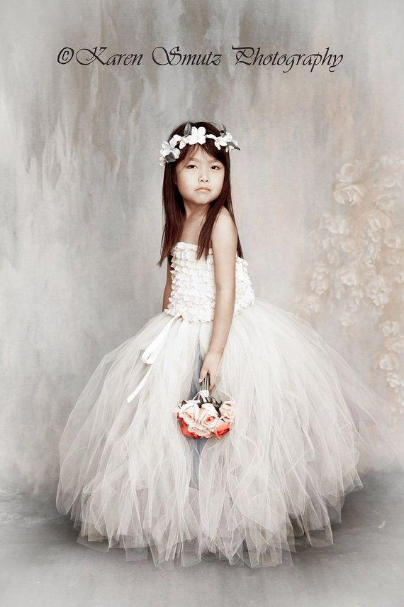 Antique white tulle skirt! White over ivory tulle tutu skirt for flower girls. PrincessDoodleBeans boutique on etsy for so much wedding inspiration.