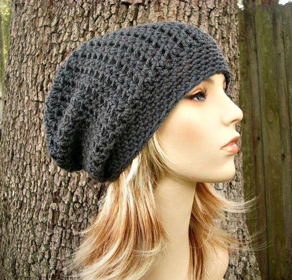 Memphis Slouchy Beanie Hat in Charcoal Grey