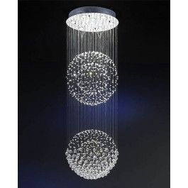 "<p><span><span><span><span>The Estratos+Chandelier+-+2+Ball by+Schuller+consists+of+10+lights+made+of metal+and</span><span> chrome+finish. <span>Balls+and+beads+of+faceted+""Asfour""+crystals,+hanging+on+metal+threads+forming+two+spheres. </span></span></span><span><span><span>The+lamping+comes+with+10+x+GU10+max+50W+halogen+bulbs. </span></span></span></span></span></p>"