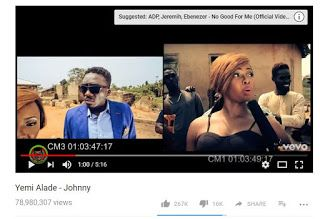 Yemi Alades Hit Single 'Johnny' Becomes Most Viewed Nigerian Music Video On YouTube Lenny Emmanuel [photo]