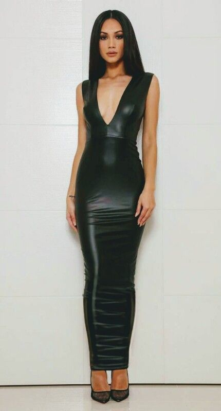 Long Black Hobble Dress In 2019 Leather Dresses Dresses