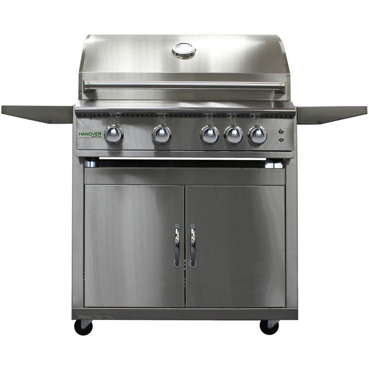 Hanover 32 in. 4-Burner Propane Gas Grill on Cart in Stainless Steel (Silver) with Rear Infrared Burner