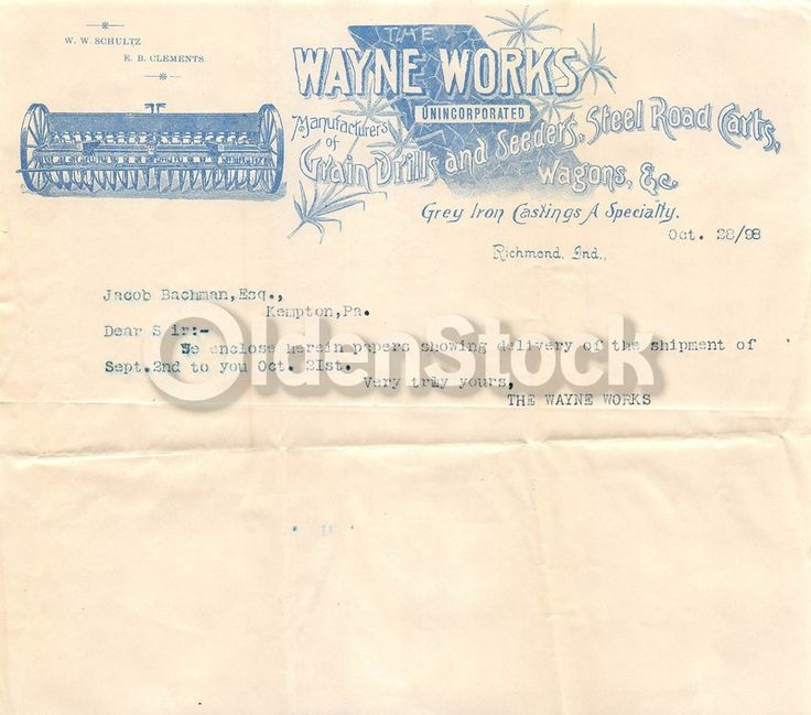 Wayne Works Richmond Indiana Farm Machinery Antique Graphic Advertising Sales Letter 1898