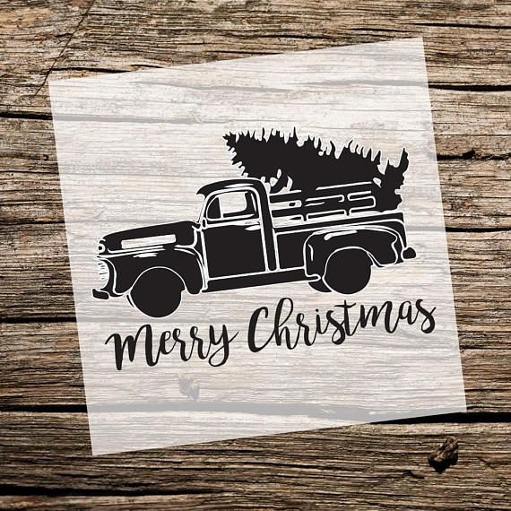 Merry Christmas | Truck with Tree | Custom Stencil | Custom Stencils | Multiple Sizes | Reusable Stencils | Ready to use |Get Ready to Paint