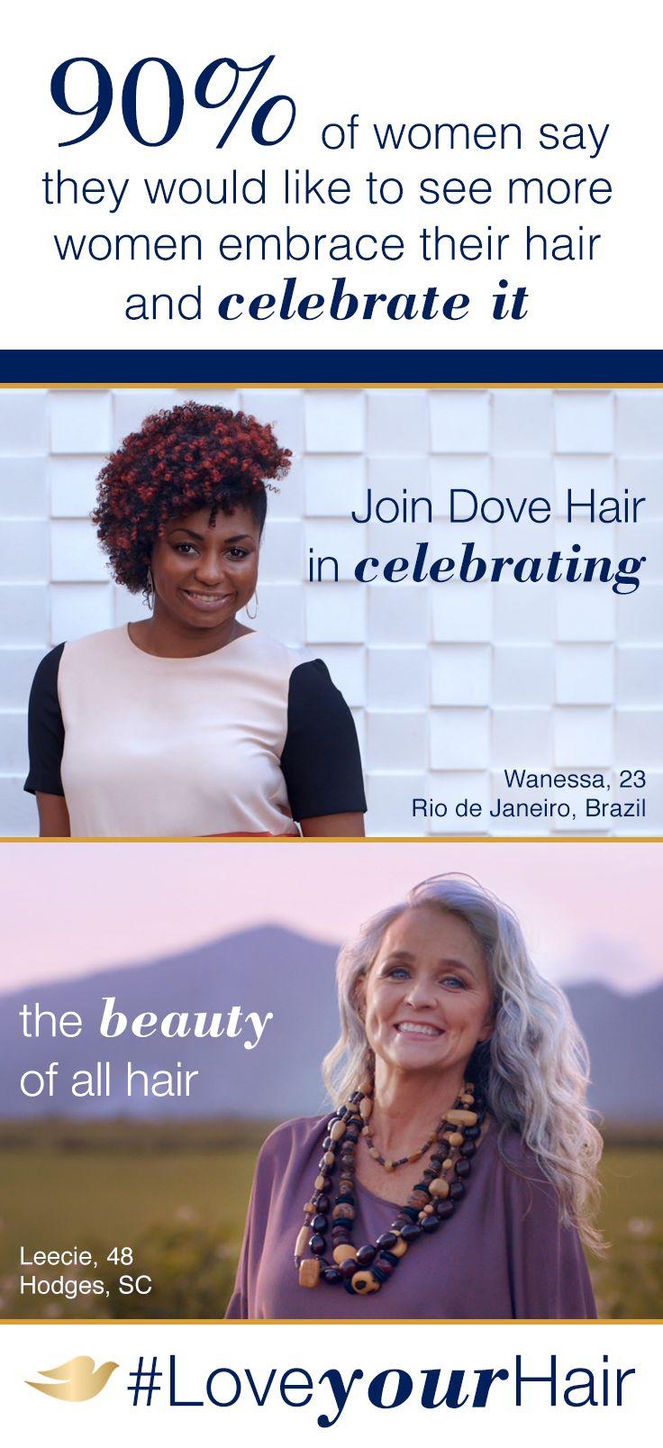 Red or gray. Curly or straight. Short or long. Dove Hair believes that beautiful hair isn't just the narrow depiction you've seen in advertisements or the media–it's whatever makes you feel like YOU. See our new definition of beautiful at Pinterest.com/DoveHair. #LoveYourHair