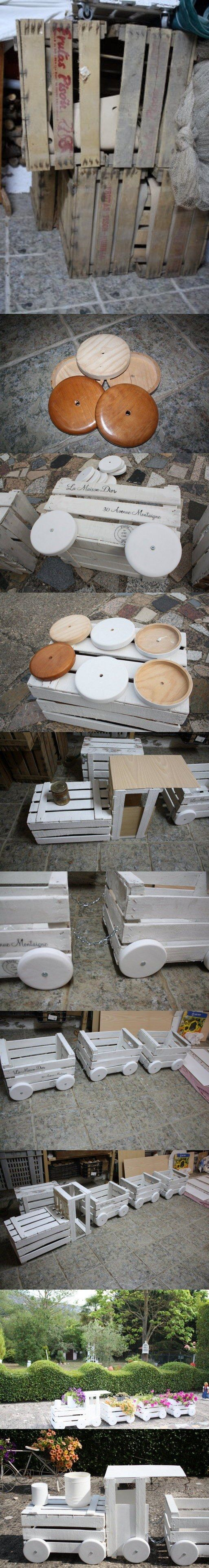 Ingeniosas macetas reciclando cajas de madera - facilisimo.com - DIY Wooden Train Planter