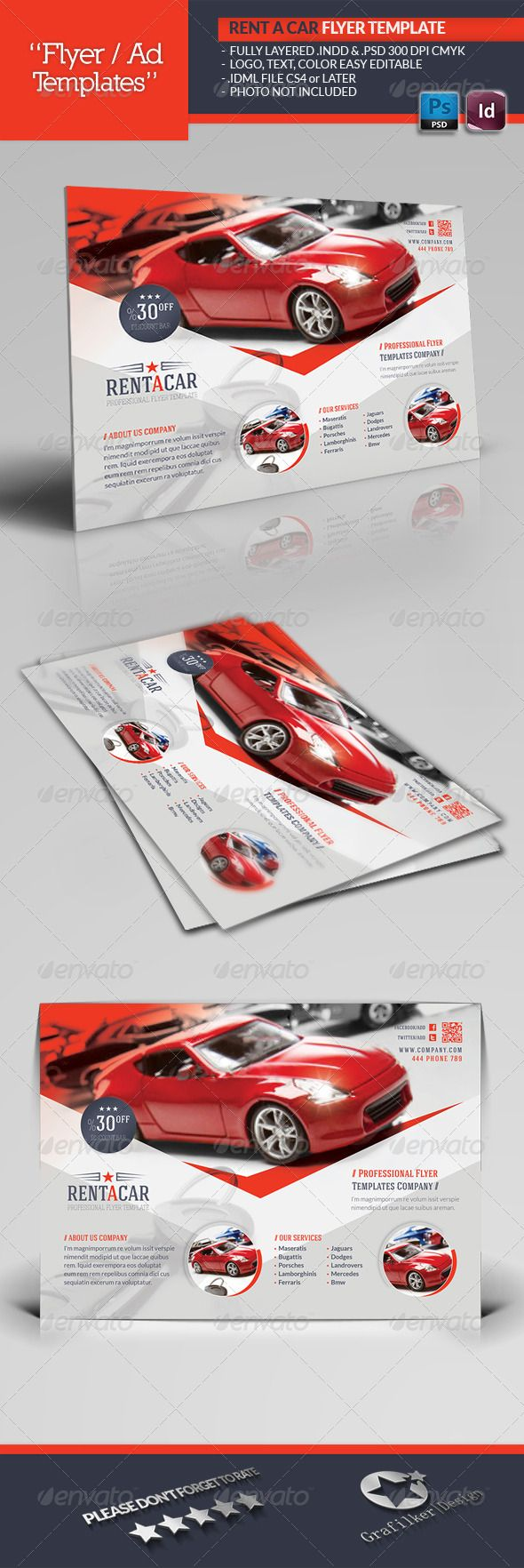 Rent A Car Flyer Template  #GraphicRiver        Rent A Car Flyer Template  Fully layered INDD   Fully layered PSD   300 Dpi, CMYK   IDML format open Indesign CS4 or later  Completely editable, print ready  Text/Font or Color can be altered as needed  All Image are in vector format, so can customise easily  Photos are not included in the file  Font File: Lato Font:  .fontsquirrel /fonts/lato Haign Font: fontfabric /hagin-free-font/ Social-Logos:  .dafont /social-logos.font   Help.txt file…